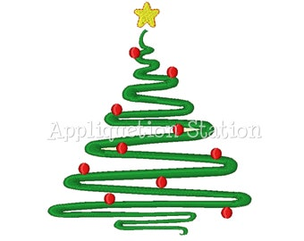 Christmas Tree Abstract Contemporary Machine Embroidery Design Holiday zig-zag line INSTANT DOWNLOAD