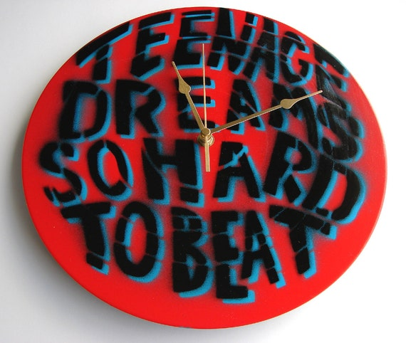 Recycled Vinyl Record CLOCK Teenage Dreams Undertones John Peel Inspiration Hand Painted by artist Ben Allen