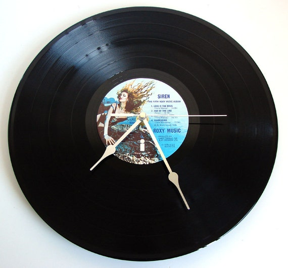 """Roxy Music Vinyl Record CLOCK made from recycled 12"""" LP """"Siren"""" Great gift for a mermaid sea seaside ocean lover beach themed bar or bedroom"""