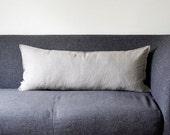 Lumbar pillow cover - grey natural linen fabric - throw pillow lumbar - linen lumbar - linen cushion case 14x36 inch  0029