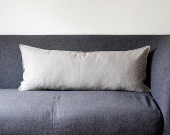 Lumbar pillow cover - grey natural linen fabric - throw pillow lumbar - linen lumbar - linen cushion case 14x36 inch  0029