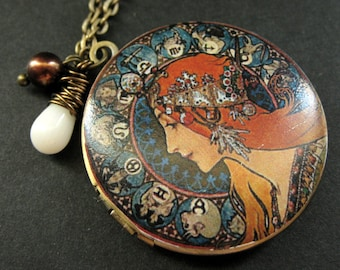 Alfonse Mucha Locket Necklace. Art Nouveau Necklace with White Coral and Brown Pearl. Handmade Jewelry.