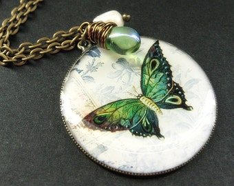 Green Butterfly Necklace. Butterfly Pendant with Fresh Water Pearl and Green Teardrop. Handmade Jewelry.