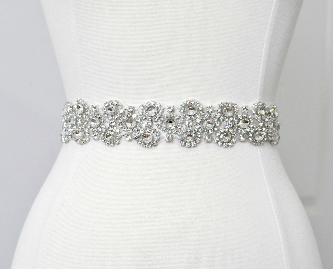 Bridal crystal belt rhinestone sash bridal sash bridal belt for Wedding dress sash with rhinestones
