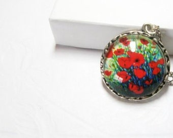 Red Poppy Necklace  Flower  Jewelry-  Mothers day gifts anf free gift