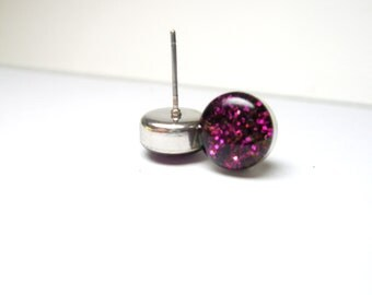 Fuchsia glitter ear posts  sparkling earrings Christmas jewelry free shipping last minute