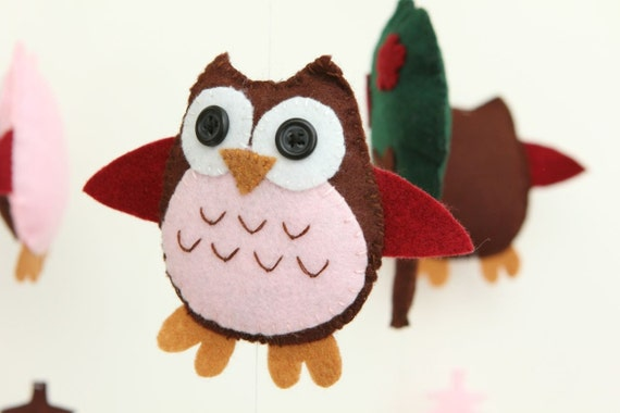 Felt baby crib mobile pattern diy owl mobile sewing pdf for Diy baby mobile felt