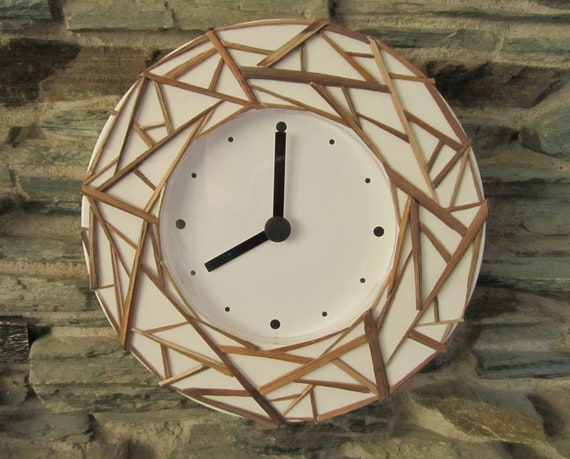 ON SALE. Natural Wood Web on White Framed Round Clock