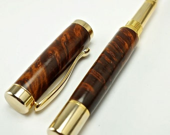 Hand turned Wooden Pen Handcrafted Rollerball from Thuya Burl Gold Hardware 364RBG