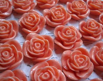 Resin Rose Cabochon / 6 pcs Coral Resin Rose / Resin Cabochons 22 mm