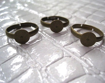 Antique Bronze Adjustable Ring Component 4 pcs, Adjustable Ring Finding, Cabochon Setting