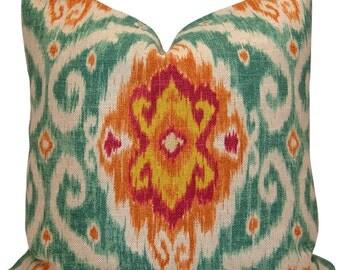 Iman Ubud Sunstone Ikat Pillow Cover in Turquoise, Orange, Magenta - Throw Pillow - Pillow Sham - Decorative Pillow Case