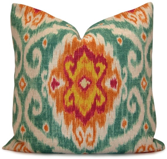 items similar to iman ubud sunstone ikat pillow cover in turquoise orange magenta throw. Black Bedroom Furniture Sets. Home Design Ideas