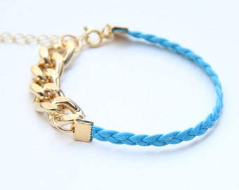 ON SALE: Arm Candy - Gold chunky chain with Blue leather braid Bracelet - 24k gold plated