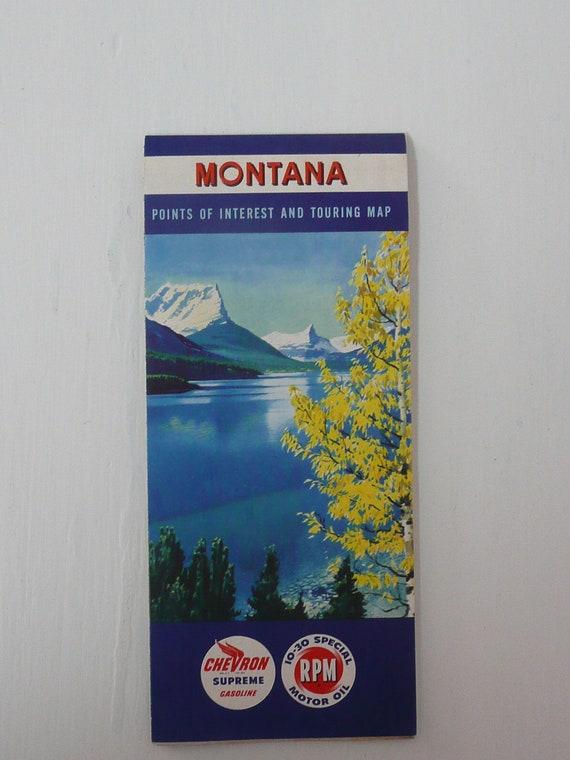Vintage Montana State Map, Road Highway Map, Chevron Supreme Gasoline, RPM Motor Oil - Vintage Travel Trailer Decor