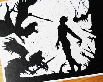 Black and White Silhouette Postcard - Angels Devil Linocut