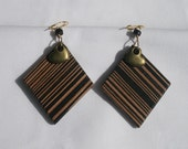 Stripes on wood and bronze heart earrings