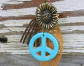 Mississippi Hippie Necklace Chain Sunflower Peace Fringe