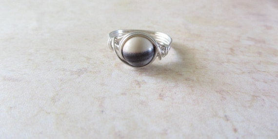 Terra Rosa Jasper Wire Wrapped Ring, Sterling Silver Filled, Custom Size