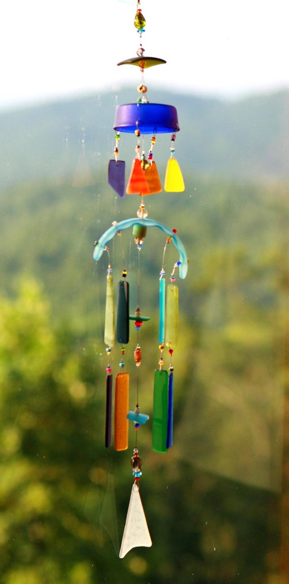 priderecycled beach glass wind chime sun catcher stained