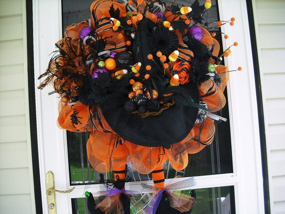 SALE Black & Orange Witch Wreath