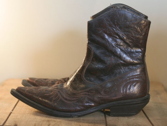 vintage mens western zip up boots shorties