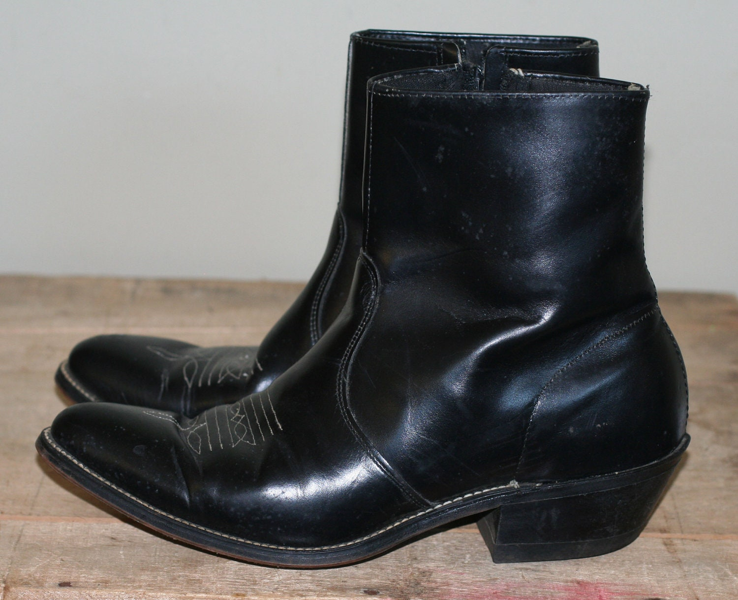 Vintage Mens Western Zip Up Ankle Boots Size 8 8 5