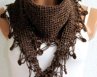 Crochet Scarf Chunky Neck Warmer Brown and gold sim. Winter Fashion Knitted Cowl. Woman Accessory