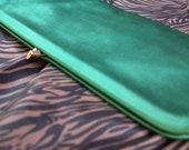 60s Emerald Green Satin Clutch