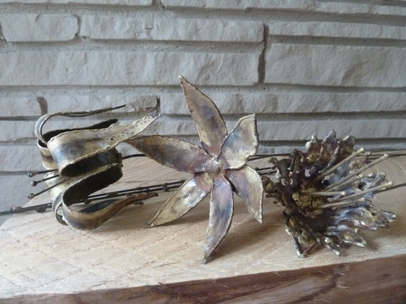 Vintage Brutalist Metal Flower Stems in style of Curtis Jere