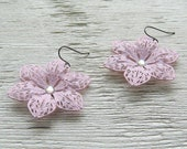 SALE Shabby chic earrings, romantic boho jewelry, pastel pink flower