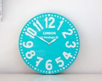 Large wooden faux vintage clock -London turquoise- // housewarming gift // graduation day gift // modern home decor // FREE SHIPPING