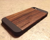 IPHONE 5/5S CASE , real wood rich polished exotic bois de rose  back ,sharp looking black edge