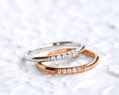 Together Rings - 925 Sterling silver ring with pink gold plated and rhodium plated