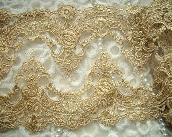 Luxury Golden Lace Trim Vintage Embroidery Bridal Gown Lace Fabric Supplies