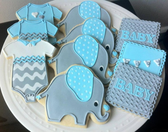 items similar to decorated elephant themed baby shower cookies custom grey blue and white. Black Bedroom Furniture Sets. Home Design Ideas