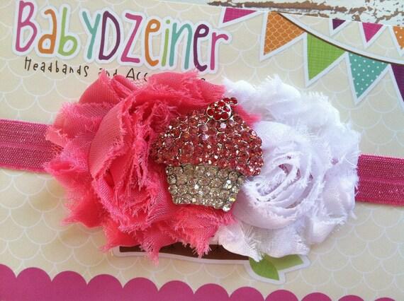 baby headband..photo prop...pink headband..rosette headband..cupcake headband