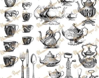 Tea Time - Digital Collage Sheet - Scrapbooking Paper - Scrapbook - Clip Art - Blossom Paper Art - 1343