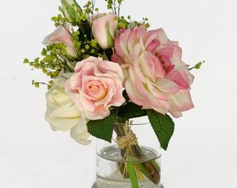 White Pink Roses Daises Arrangement in Cylinder Vase as Home Decor Artificial Faux Arrangement Centerpiece