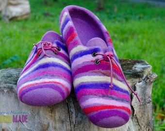 Women felted slippers Wool Mix
