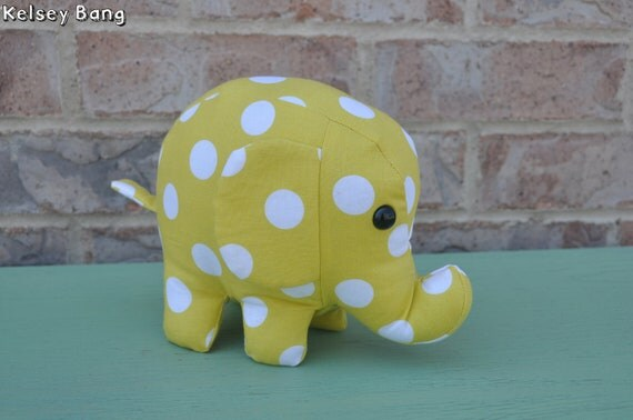 elephant stuffed animal - yellow with large white polka dots