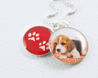 Pet Photo Necklace with Matching Paw Prints in Sterling Silver