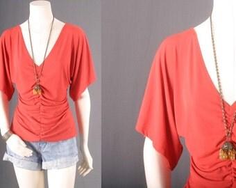 Vintage Top Bloue Orange 1970s Bell Sleeves Boho  Bohemian Gypsy Hippie Women size M or L Medium or Large 14