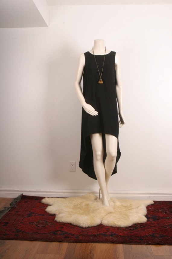 Black dress high low mullet asymmetrical upcycled cocktail bohemian vintage maxi women size S or M small medium