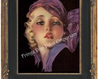 Art Nouveau Art Deco Flapper Art Print 8 x 10 - Glamorous With Purple Scarf