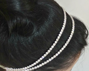 SONIA Double Crystal Bridal Headband,Silver or Gold Beaded Headpiece