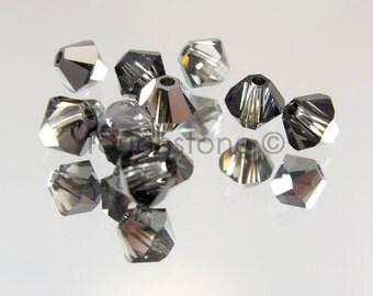 4mm Crystal Silver Night Swarovski Crystal Bicone Beads 72 Beads #45-1206