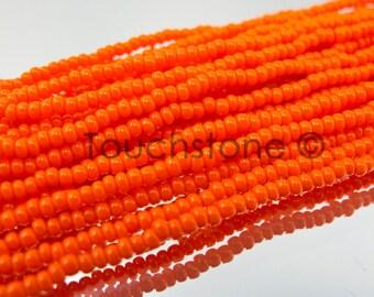 11/0 Orange Opaque Czech Seed Beads 35 Grams #26-110116
