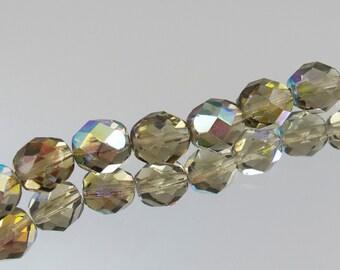 8mm Black Diamond AB Czech Fire Polish Bead 25 Beads #339-117