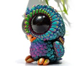 Sculpture Baby Owl, Resin Figure, Designer Toy, Peacock, colorful, BIG EYES